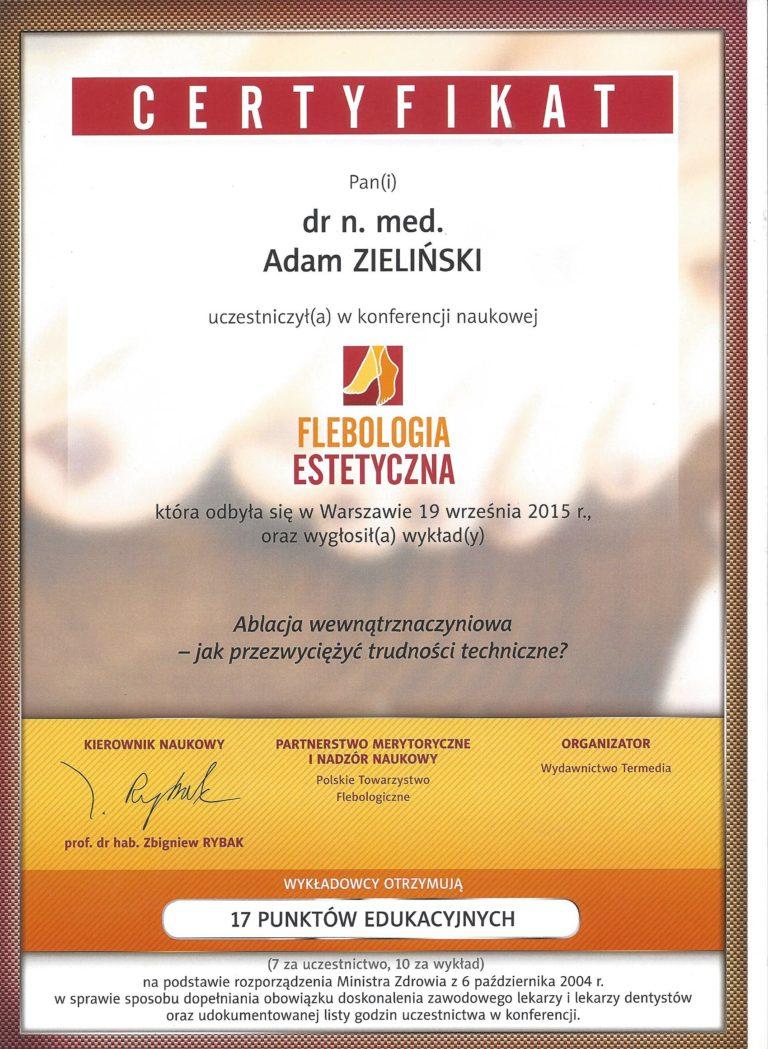 CHhirurg naczyniowy Adam Zieliński - certyfikat